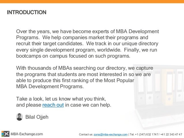 MBA-Exchange.com ¦ MBA Development Programs Report 2015 Slide 3