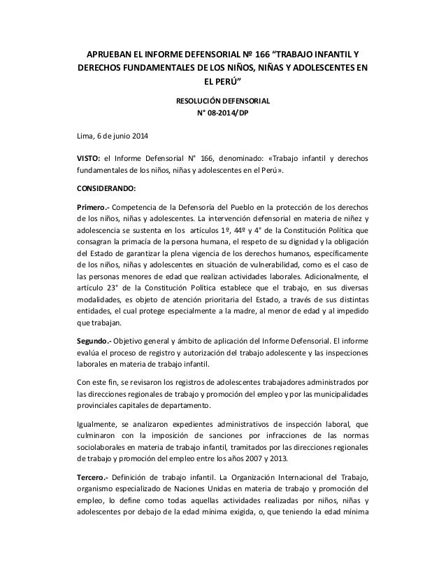 """APRUEBAN EL INFORME DEFENSORIAL Nº 166 """"TRABAJO INFANTIL Y DERECHOS FUNDAMENTALES DE LOS NIÑOS, NIÑAS Y ADOLESCENTES EN EL..."""