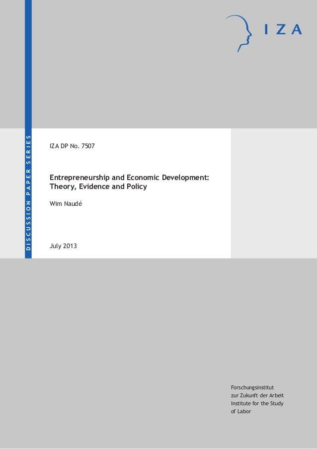 DISCUSSIONPAPERSERIES Forschungsinstitut zur Zukunft der Arbeit Institute for the Study of Labor Entrepreneurship and Econ...