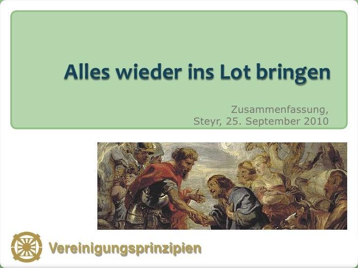 Alles wieder ins Lot bringen                                 Zusammenfassung,                         Steyr, 25. September...