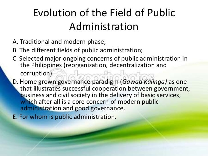 evolution of public administration wikipedia