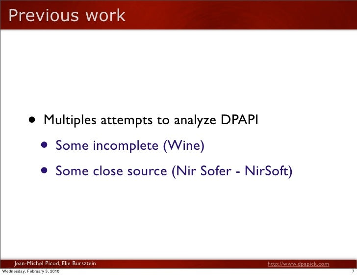Reverse of DPAPI - BlackHat DC 2010