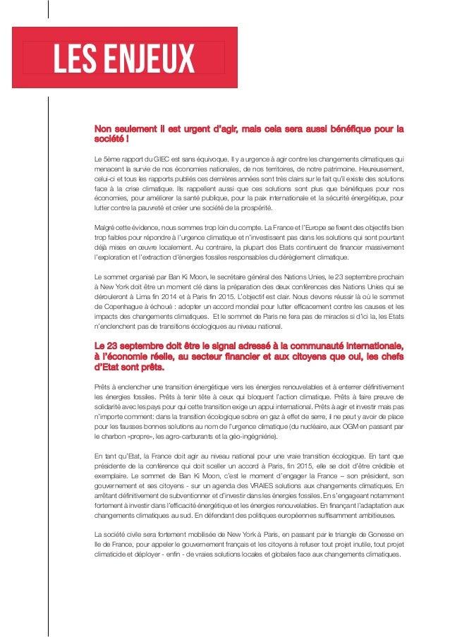 Les enjeux  Non seulement il est urgent d'agir, mais cela sera aussi bénéfique pour la société !  Le 5ème rapport du GIEC ...