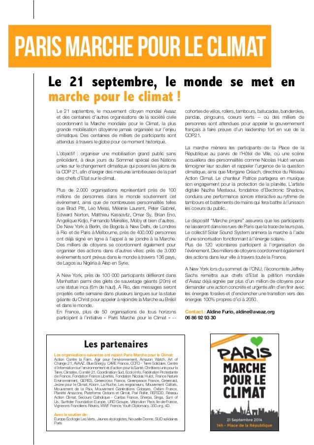 Paris marche pour le climat  Le 21 septembre, le mouvement citoyen mondial Avaaz et des centaines d'autres organisations d...
