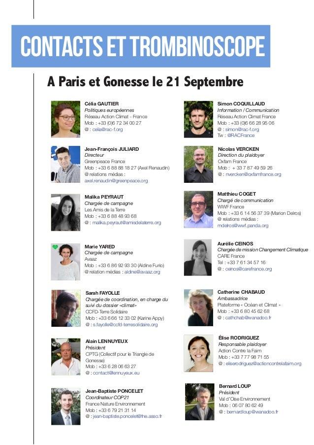 Contacts et TROMBINOSCOPE  A Paris et Gonesse le 21 Septembre  Marie YARED  Chargée de campagne  Avaaz  Mob : +33 6 86 92 ...