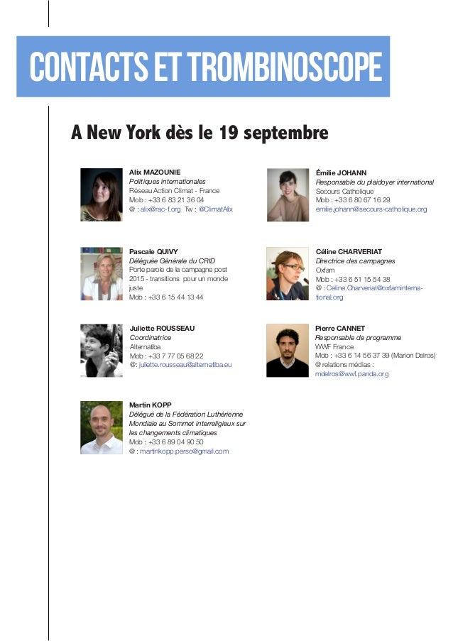 Contacts et TROMBINOSCOPE  A New York dès le 19 septembre  Alix MAZOUNIE  Politiques internationales  Réseau Action Climat...