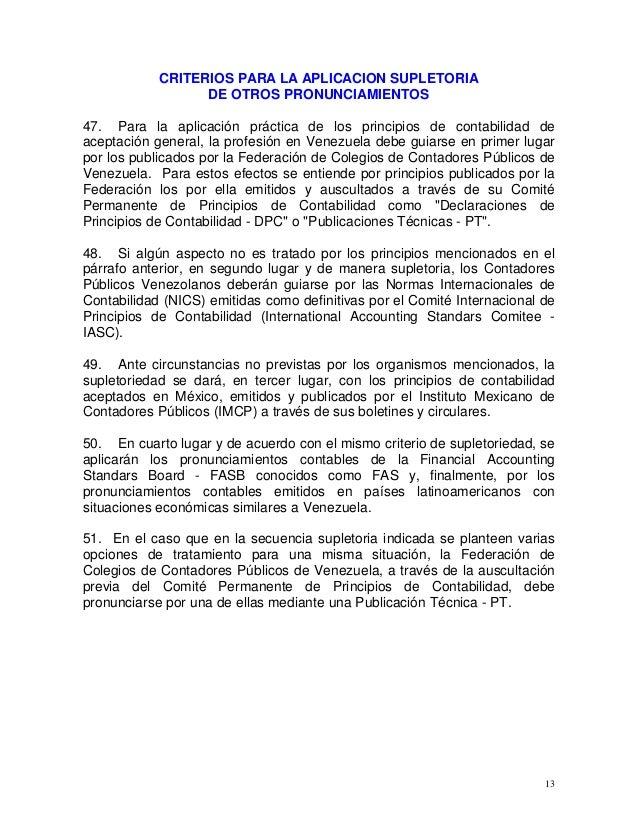 13 CRITERIOS PARA LA APLICACION SUPLETORIA DE OTROS PRONUNCIAMIENTOS 47. Para la aplicación práctica de los principios de ...