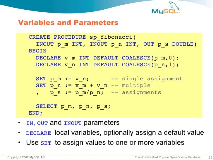 DPC2007 MySQL Stored Routines for PHP Developers (Roland Bouman)