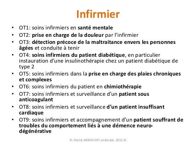 Infirmier • OT1: soins infirmiers en santé mentale • OT2: prise en charge de la douleur par l'infirmier • OT3: détection p...
