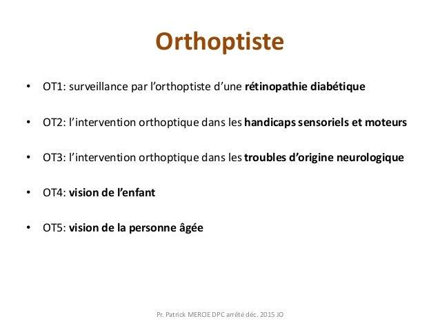 Orthoptiste • OT1: surveillance par l'orthoptiste d'une rétinopathie diabétique • OT2: l'intervention orthoptique dans les...