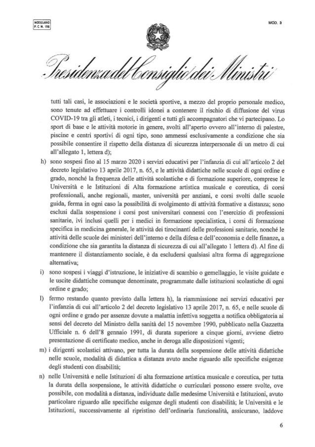 Coronavirus, firmato il Dpcm 8 marzo 2020
