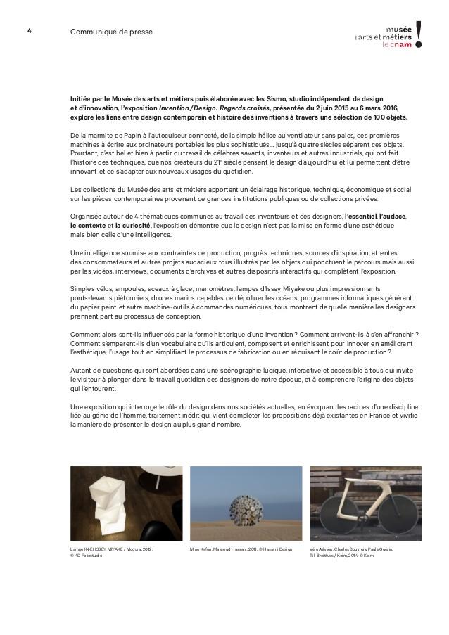 Relativ Dossier de presse invention design regards croisés SISMO PA47