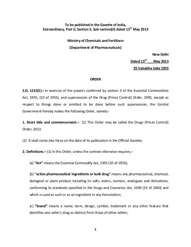 1 To be published in the Gazette of India, Extraordinary, Part II, Section 3, Sub-section(ii) dated 15th May 2013 Ministry...