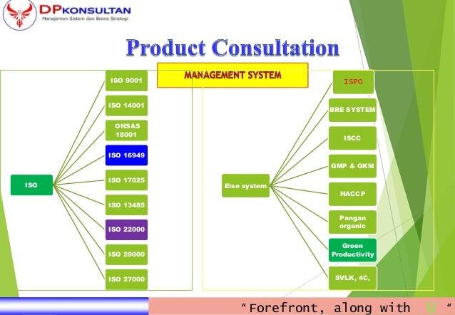 ISO ISO 9001 ISO 14001 OHSAS 18001 ISO 16949 ISO 17025 ISO 13485 ISO 22000 ISO 29000 ISO 27000 Else system ISPO BRE SYSTEM...