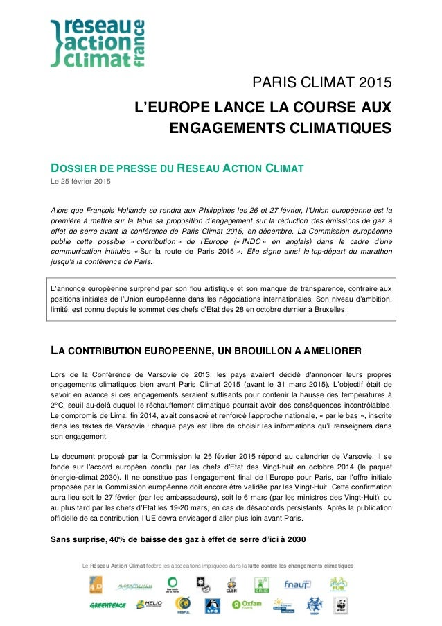 Le Réseau Action Climat fédère les associations impliquées dans la lutte contre les changements climatiques PARIS CLIMAT 2...