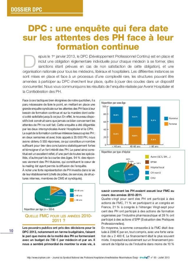 DPC : une enquête qui fera date sur les attentes des PH face à leur formation continue 10 http://www.snphare.com - Journal...