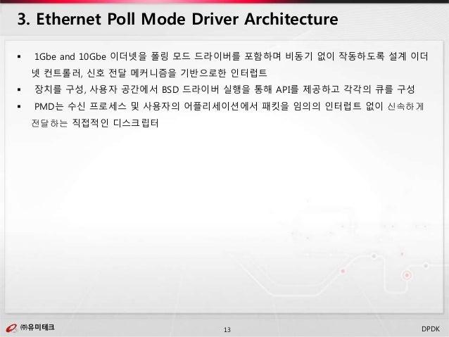 ㈜유미테크13㈜유미테크 DPDK  1Gbe and 10Gbe 이더넷을 폴링 모드 드라이버를 포함하며 비동기 없이 작동하도록 설계 이더 넷 컨트롤러, 신호 전달 메커니즘을 기반으로한 인터럽트  장치를 구성, 사용자 공...
