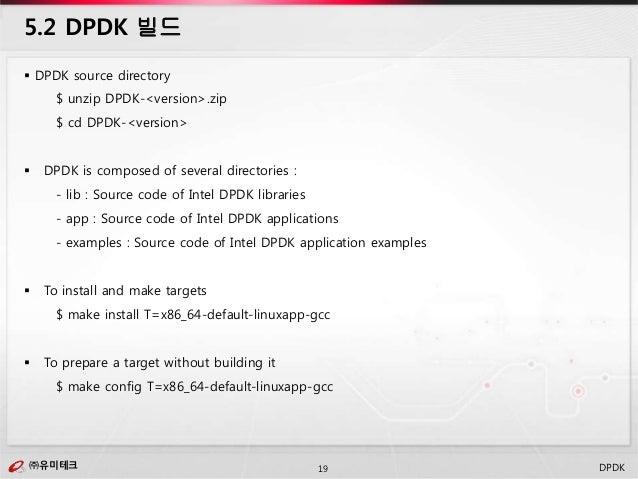 ㈜유미테크19㈜유미테크 DPDK  DPDK source directory $ unzip DPDK-<version>.zip $ cd DPDK-<version>  DPDK is composed of several dir...