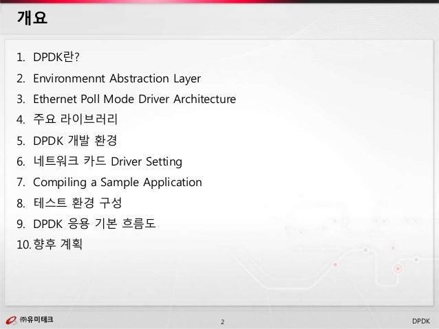 ㈜유미테크2㈜유미테크 DPDK 1. DPDK란? 2. Environmennt Abstraction Layer 3. Ethernet Poll Mode Driver Architecture 4. 주요 라이브러리 5. DPDK...