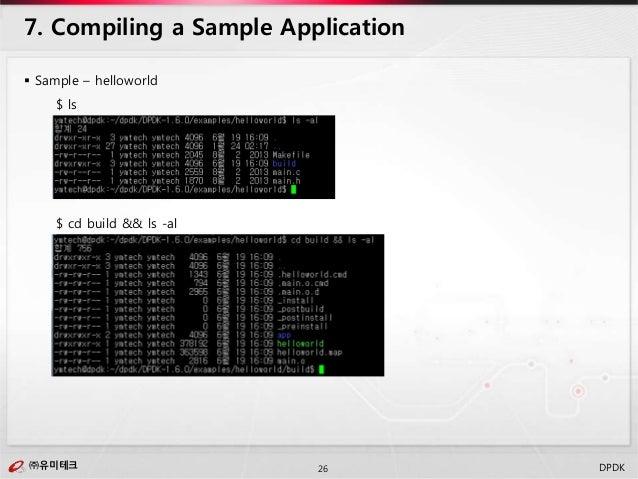 ㈜유미테크26㈜유미테크 DPDK  Sample – helloworld $ ls $ cd build && ls -al 7. Compiling a Sample Application
