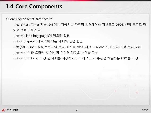㈜유미테크8㈜유미테크 DPDK  Core Components Architecture - rte_timer : Timer 기능. EAL에서 제공되는 타이머 인터페이스 기반으로 DPDK 실행 단위로 타 이머 서비스를 제공...