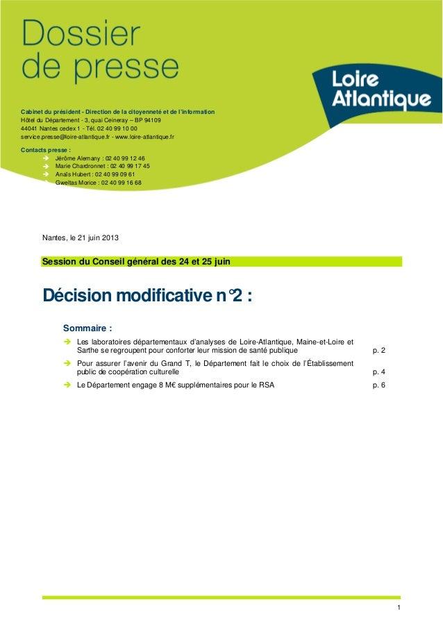 Cabinet du président - Direction de la citoyenneté et de l'information Hôtel du Département - 3, quai Ceineray – BP 94109 ...