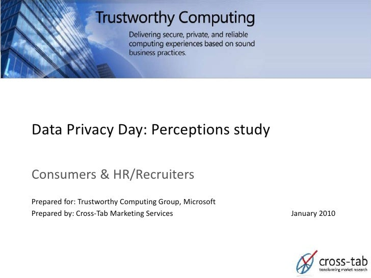 Data Privacy Day: Perceptions study  Consumers & HR/Recruiters Prepared for: Trustworthy Computing Group, Microsoft Prepar...