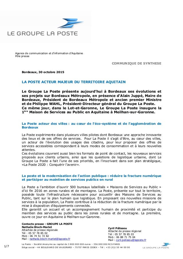 Agence de communication et d'information d'Aquitaine Pôle presse La Poste – Société Anonyme au capital de 3 800 000 000 eu...