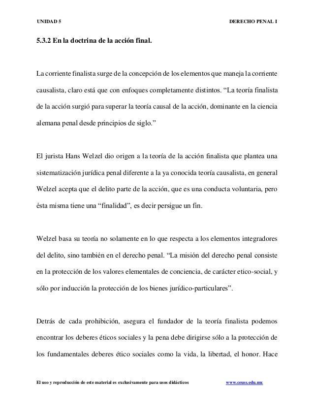 UNIDAD 5 DERECHO PENAL I El uso y reproducción de este material es exclusivamente para usos didácticos www.ceuss.edu.mx 5....