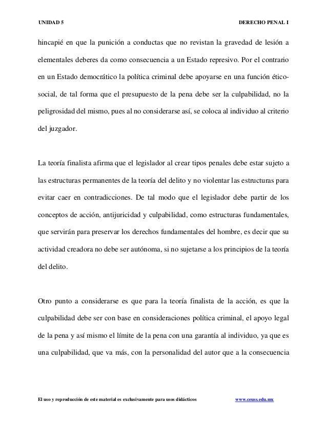 UNIDAD 5 DERECHO PENAL I El uso y reproducción de este material es exclusivamente para usos didácticos www.ceuss.edu.mx hi...