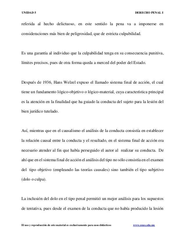 UNIDAD 5 DERECHO PENAL I El uso y reproducción de este material es exclusivamente para usos didácticos www.ceuss.edu.mx re...