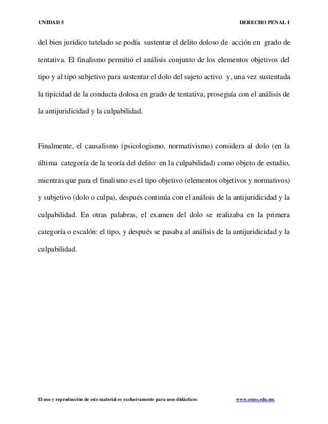 UNIDAD 5 DERECHO PENAL I El uso y reproducción de este material es exclusivamente para usos didácticos www.ceuss.edu.mx de...