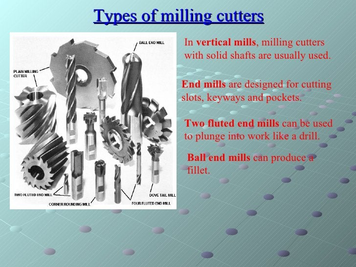 Types of milling cutters In  vertical mills , milling cutters with solid shafts are usually used.  End mills  are designed...