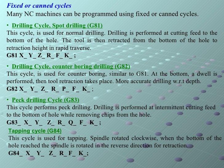 <ul><li>Fixed or canned cycles </li></ul><ul><li>Many NC machines can be programmed using fixed or canned cycles.  </li></...
