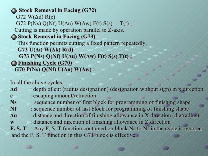 <ul><li>Stock Removal in Facing (G72) </li></ul><ul><li>G72 W(Δd) R(e) </li></ul><ul><li>G72 P(Ns) Q(Nf) U(Δu) W(Δw) F(t) ...