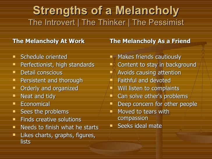 Melancholic temperament traits