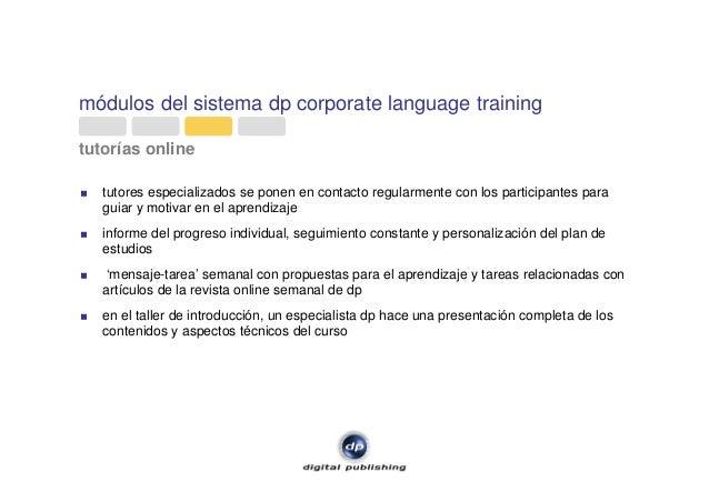 módulos del sistema dp corporate language training tutorías online tutores especializados se ponen en contacto regularment...