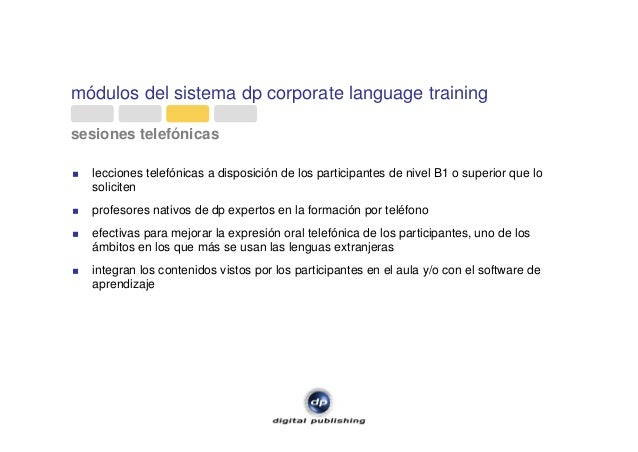módulos del sistema dp corporate language training sesiones telefónicas lecciones telefónicas a disposición de los partici...