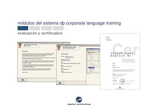 módulos del sistema dp corporate language training evaluación y certificados