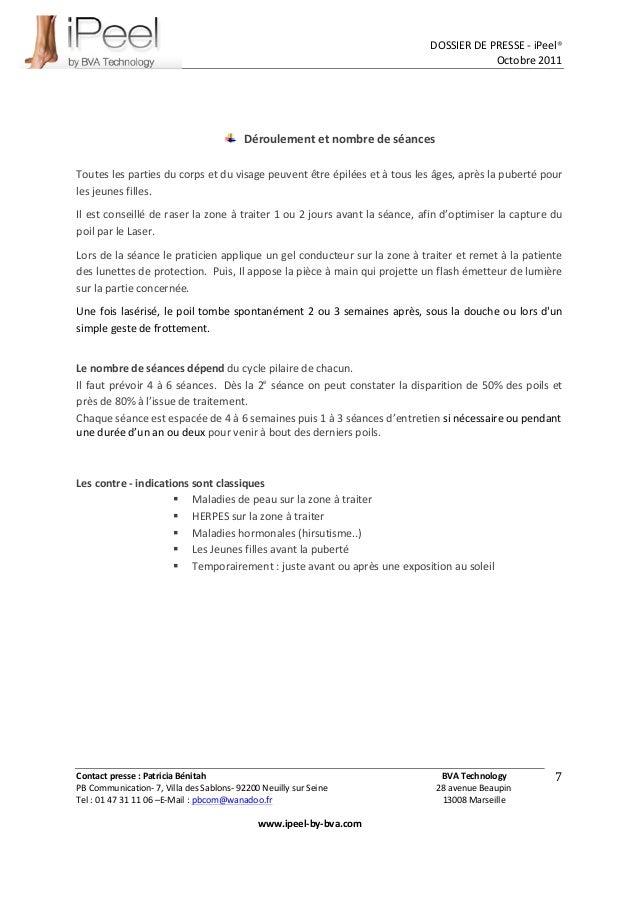 DOSSIER  DE  PRESSE  -‐  iPeel®   Octobre  2011   Contact  presse  :  Patricia  Bénitah      ...