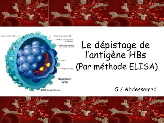 S/A  Le dépistage de  l'antigène HBs  (Par méthode ELISA)  LL  S / Abdessemed