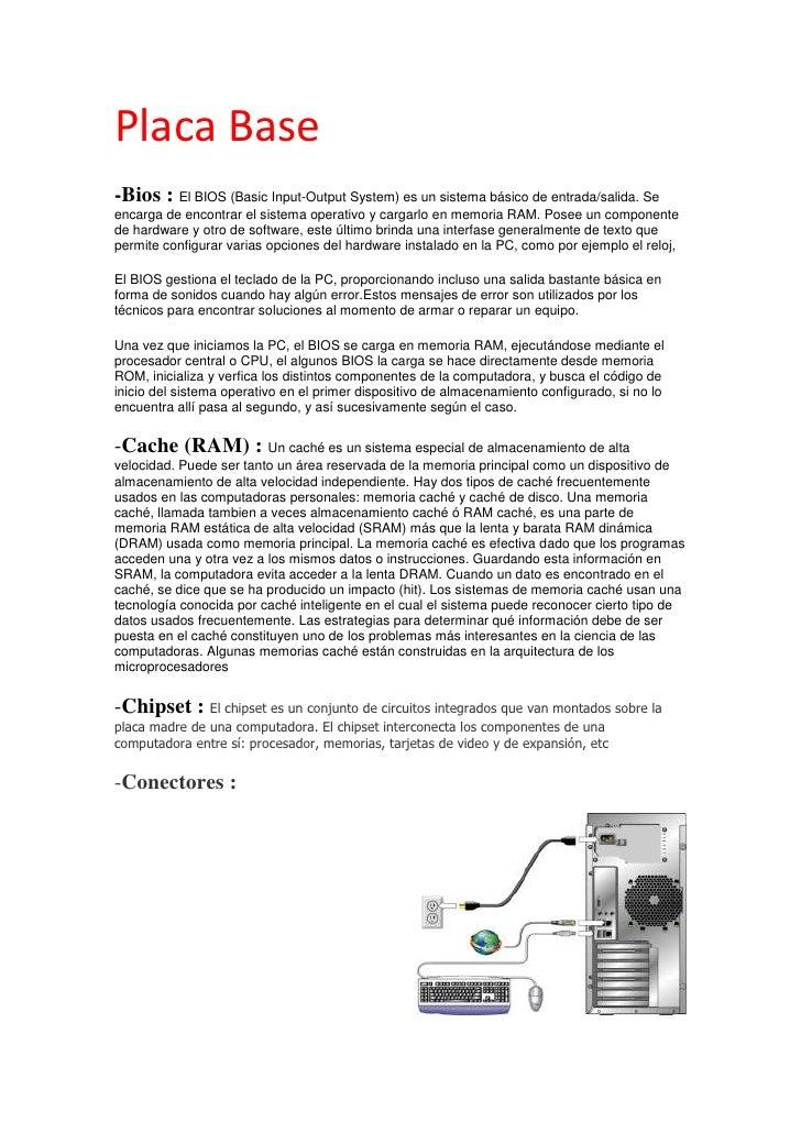 Placa Base<br />-Bios : El BIOS (Basic Input-Output System) es un sistema básico de entrada/salida. Se encarga de encontra...