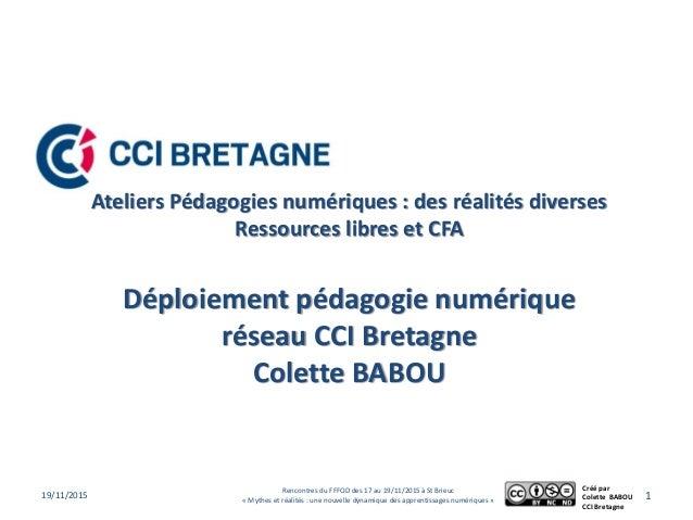 Ateliers Pédagogies numériques : des réalités diverses Ressources libres et CFA Déploiement pédagogie numérique réseau CCI...