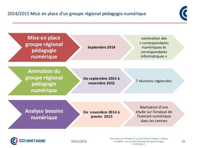 2014/2015 Mise en place d'un groupe régional pédagogie numérique 1519/11/2015 Rencontres du FFFOD des 17 au 19/11/2015 à S...