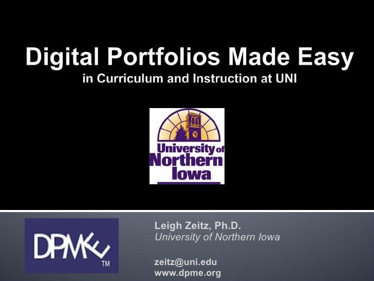 Leigh Zeitz, Ph.D. University of Northern Iowa [email_address] www.dpme.org