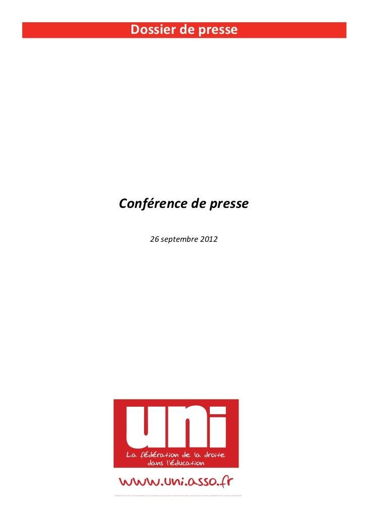 Dossier de presseConférence de presse    26 septembre 2012