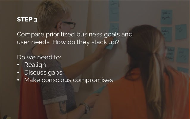 When business goals don't align to user needs When stakeholders participate in matching business goals to user needs they ...