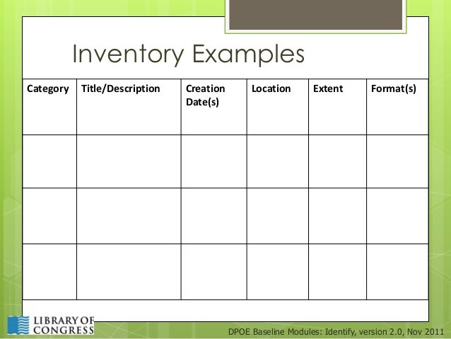 Inventory ExamplesCategory ...  Inventory Format