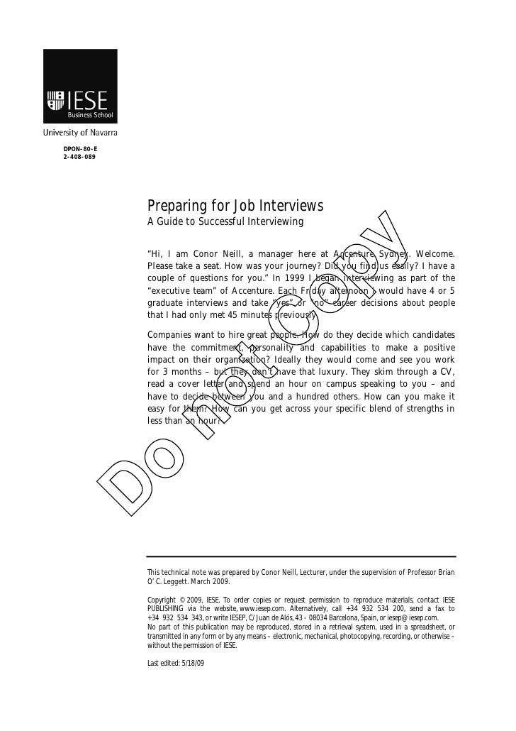 DPON-80-E 2-408-089                 Preparing for Job Interviews             A Guide to Successful Interviewing           ...