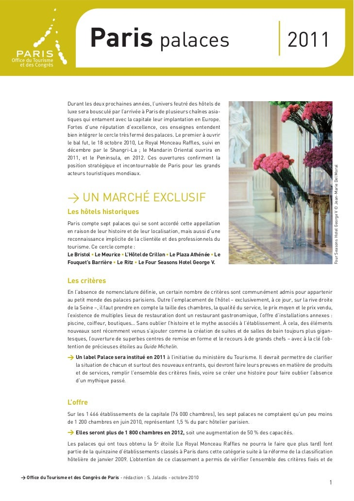 > Dossier de presse Paris palaces 2011                                Paris palaces                                       ...